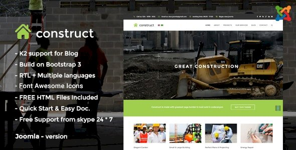 Construct v2.0 – Construction Joomla Template