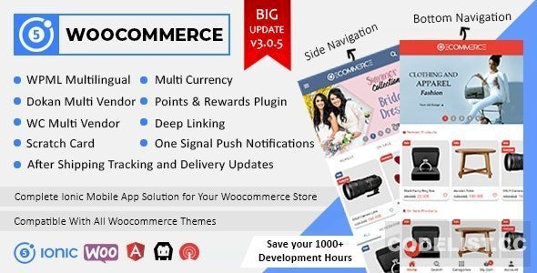 Ionic5 Woocommerce v3.0.6 – Ionic5/Angular8 Universal Full Mobile App for iOS & Android / WordPress Plugins – nulled
